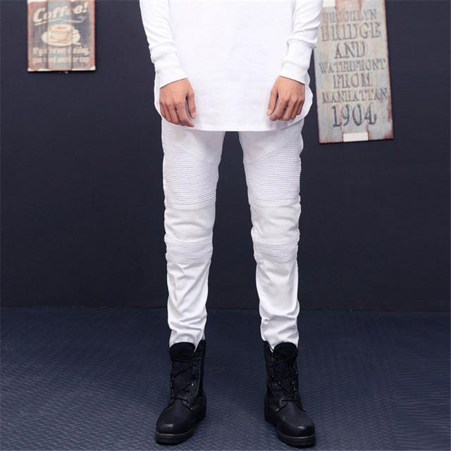 Vintage Elastic Denim Biker Jeans For Men-White-28-