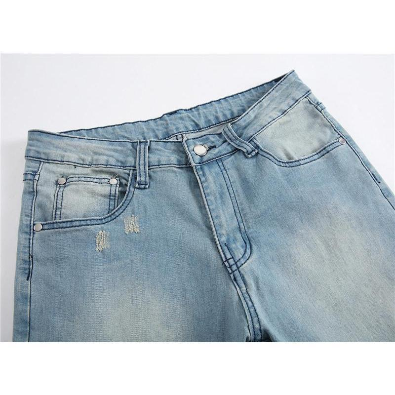 Vintage Faded Ripped Light Blue Denim Pants-Blue-28-