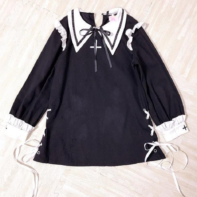 Vintage Girl Lace Up Bow Dress - The Black Ravens
