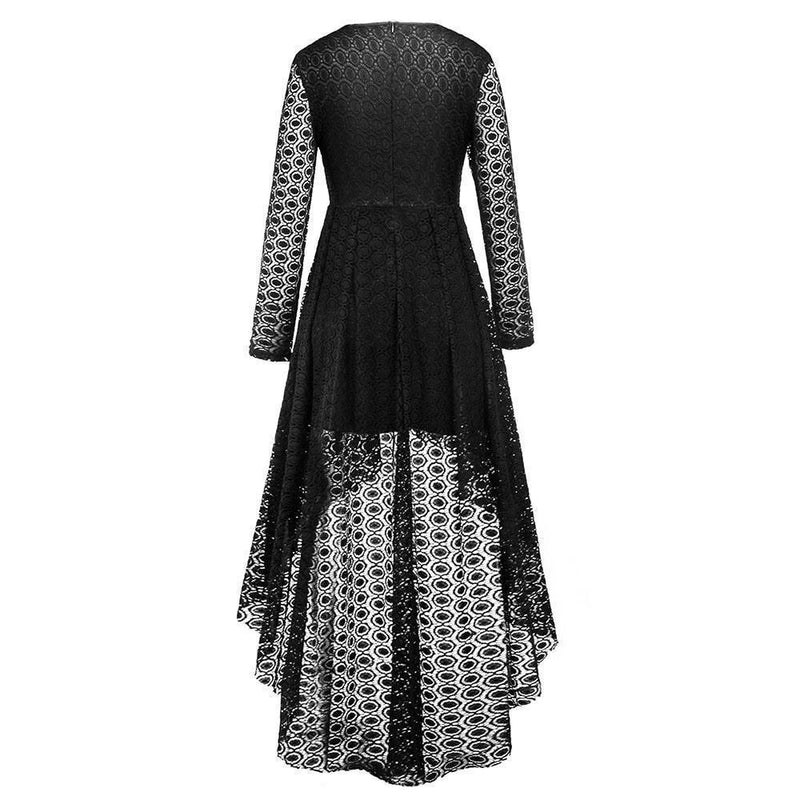 Vintage Gothic Chiffon Asymmetrical Dress - The Black Ravens