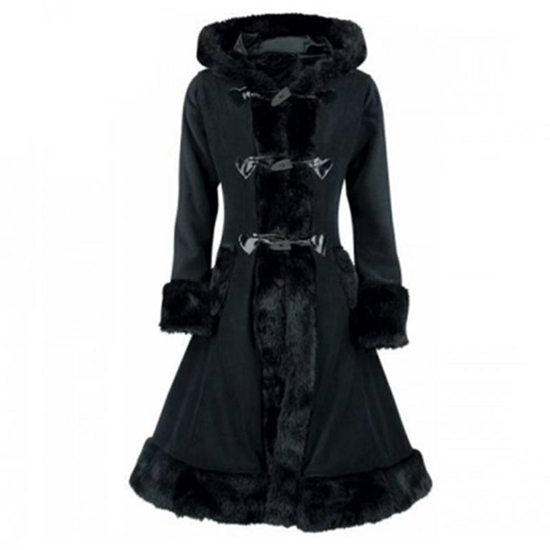 Vintage Hooded Winter Overcoat For Women-Black-M-