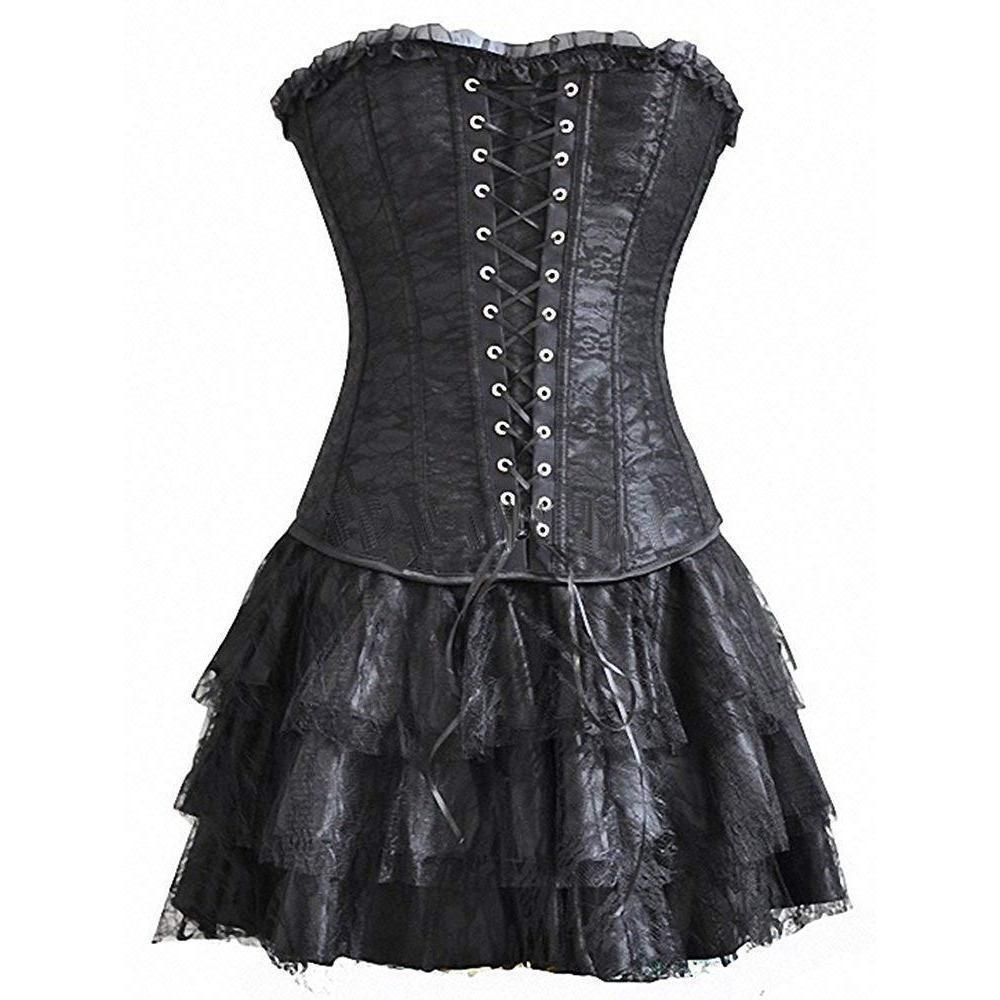 Vintage Lace-Up Sexy Black Corsets-Black-S-