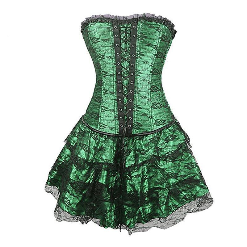 Vintage Lace-Up Sexy Black Corsets-Green-S-