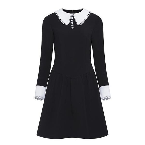 Vintage Peter Pan Collar Office Dress-S-