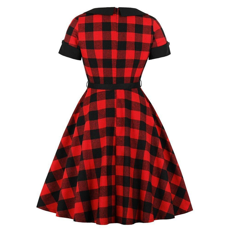 Vintage Plus Size Plaid Red Dress - The Black Ravens