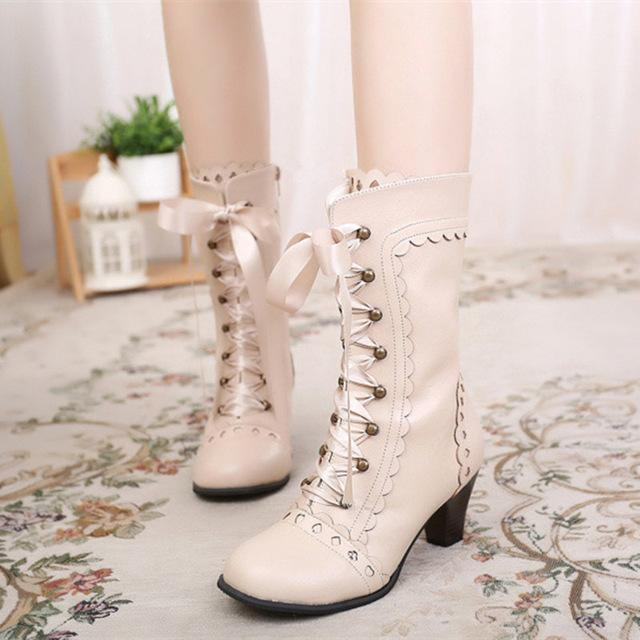 Vintage Royal Princess Lolita Boots For Women-Beige-6-