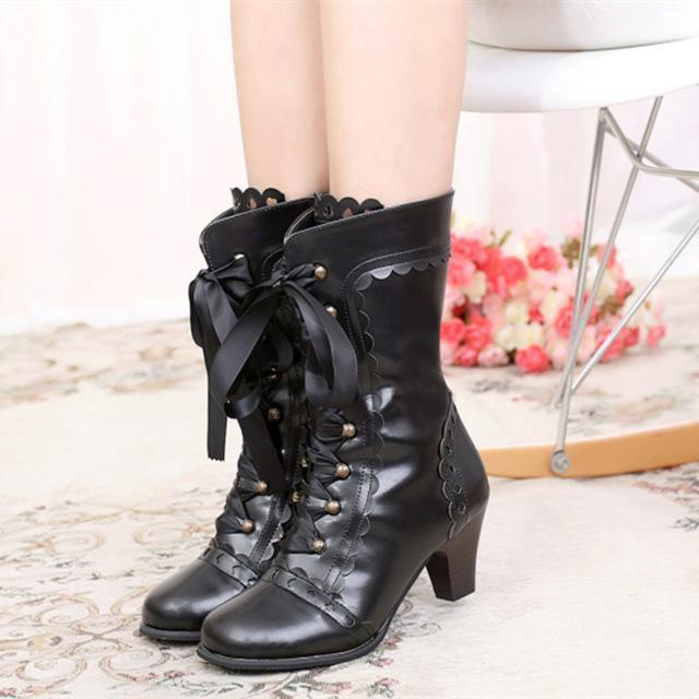 Vintage Royal Princess Lolita Boots For Women-Black-6-