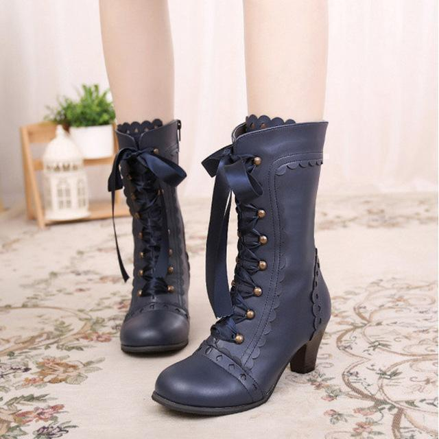 Vintage Royal Princess Lolita Boots For Women-Blue-5-