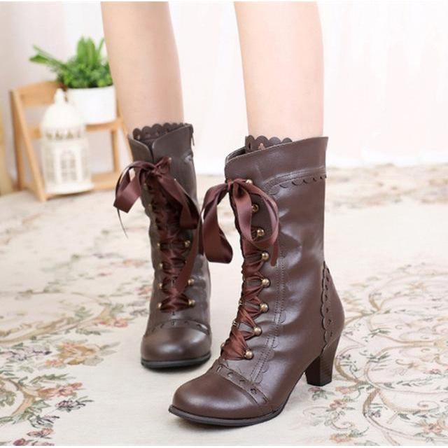 Vintage Royal Princess Lolita Boots For Women-Brown-6-