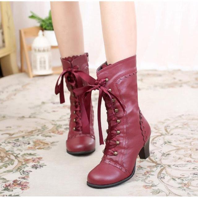 Vintage Royal Princess Lolita Boots For Women-Red-6-