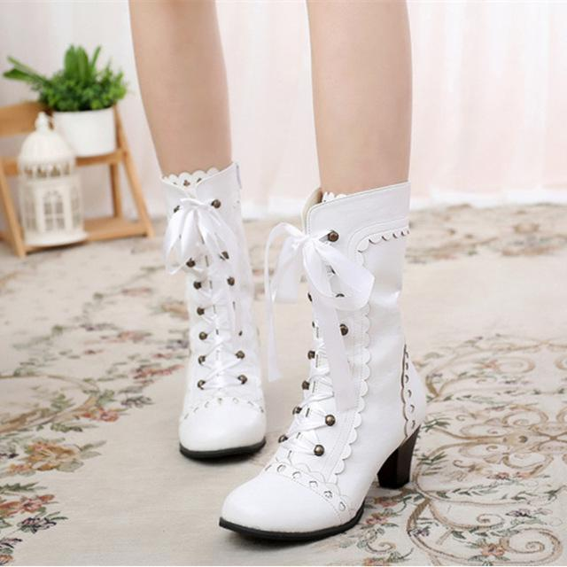 Vintage Royal Princess Lolita Boots For Women-White-5-