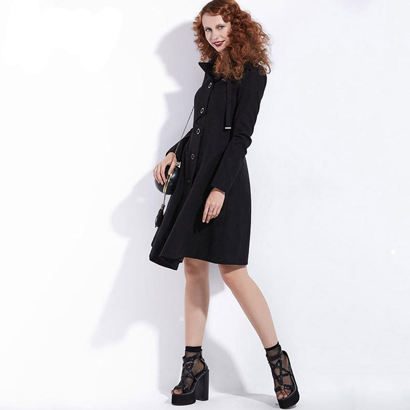 Vintage Style Black Trench Coat For Women - The Black Ravens
