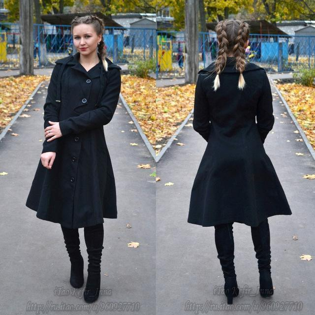 Vintage Style Black Trench Coat For Women-Black-S-