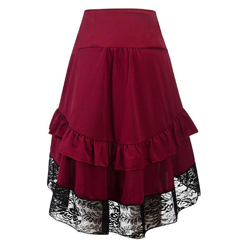 Vintage Style Burgundy Lace Skirt - The Black Ravens