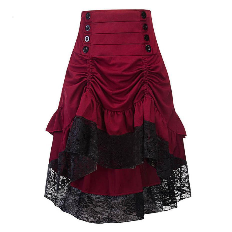 Vintage Style Burgundy Lace Skirt-Burgundy-S-