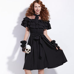 Vintage Victorian Style Gothic Dress-Black-S-