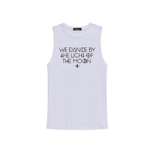 'WE DANCE BY THE LIGHT OF THE MOON' Sleeveless Tees-White-One Size-