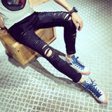 White Ripped Hollow Out Casual Pants For Men-Black-L-