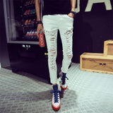 White Ripped Hollow Out Casual Pants For Men-White-L-