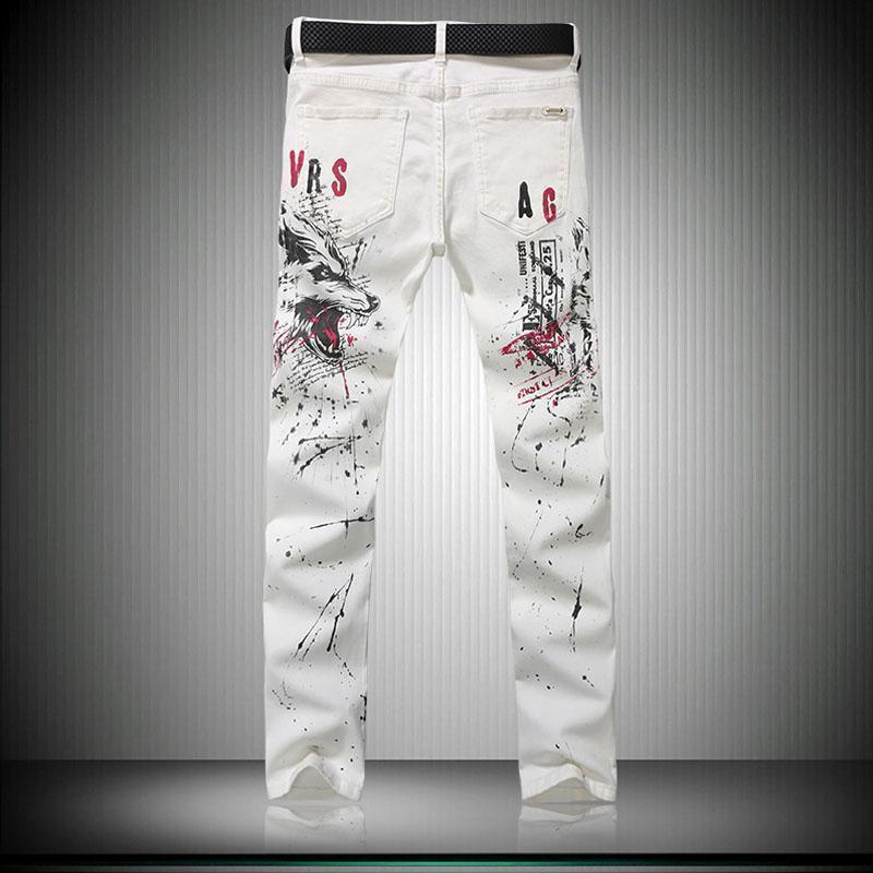White Wolf Printed Elastic Slim Fit Denim Jeans-White-28-