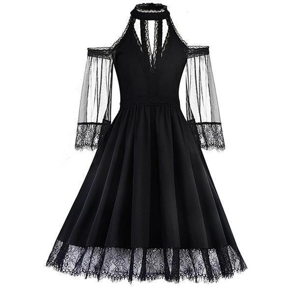 Wicked Casket Black Lace Dress-S-