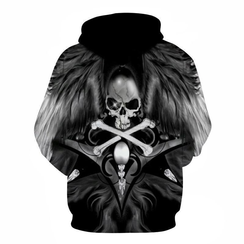Winged Skull and Bones Biker Hoodie - The Black Ravens