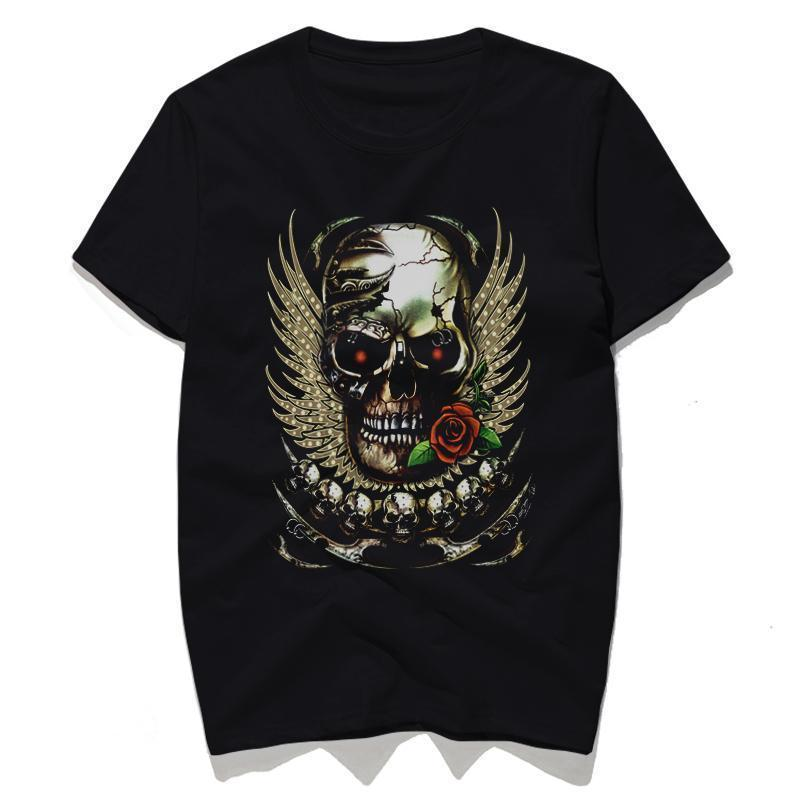 Winged Skull And Red Rose Top For Bikers-Black-S-