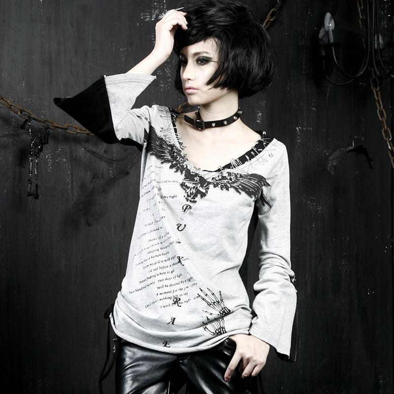 Winged Skull Lady's Punk Rave Full-Sleeve Tee - The Black Ravens