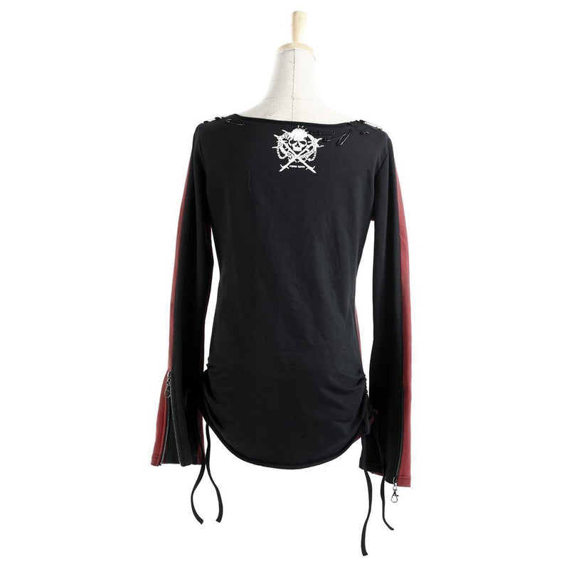 Winged Skull Lady's Punk Rave Full-Sleeve Tee-Black with red-S-