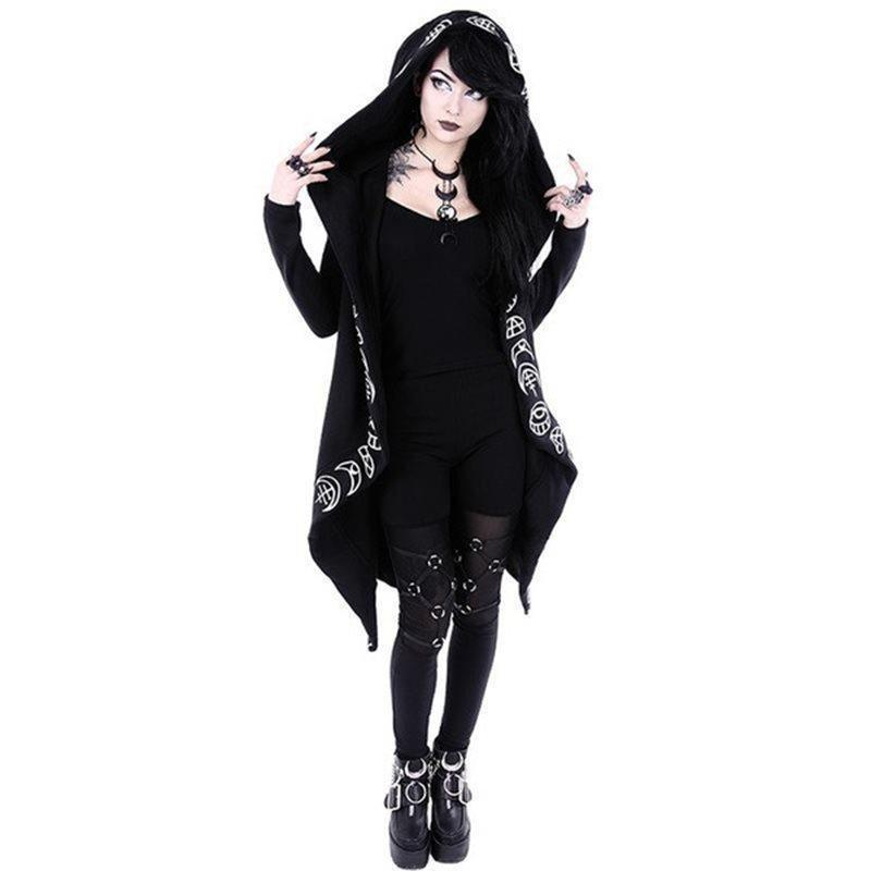 Witches' Black Printed Hooded Cardigan-S-