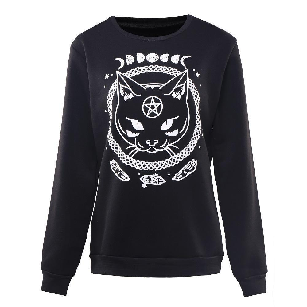 Witch's Cat And Moon Phase Black Pullover-M-