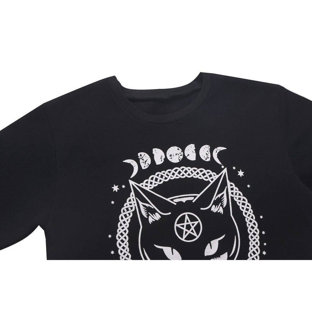 Witch's Cat And Moon Phase Black Pullover-S-