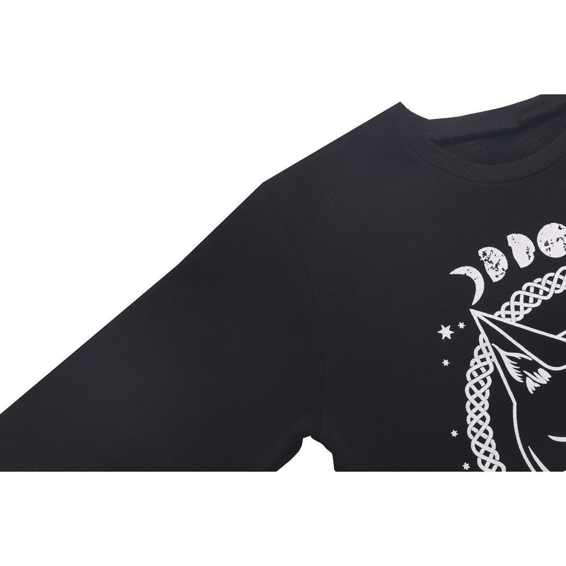 Witch's Cat and Moon Phase Black Pullover - The Black Ravens