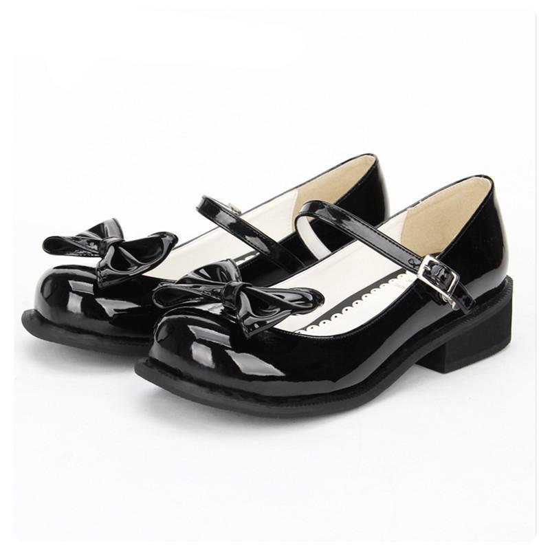 Women Shining Black Leather Low Heel Lolita Shoes-Black-5-