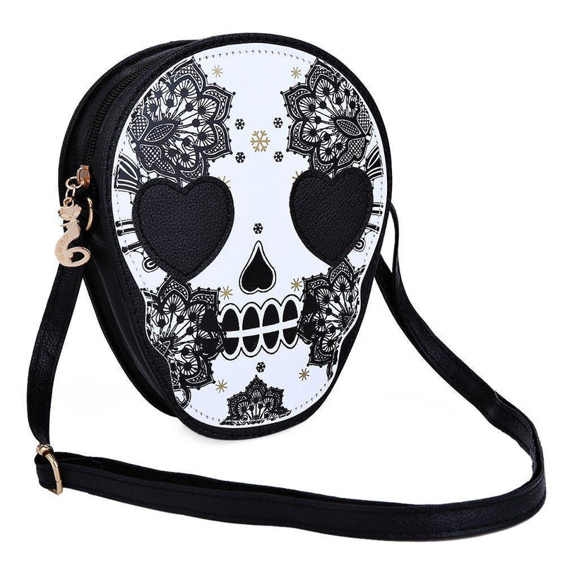 Women's Alternative Black Skeleton Head Crossbody Bags-