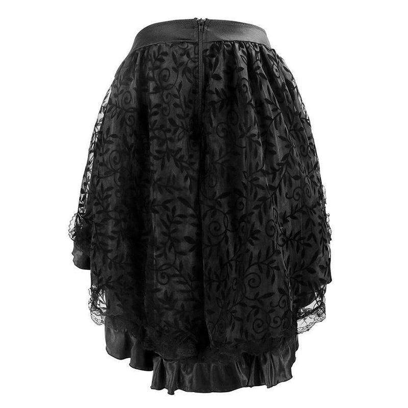 Women's Asymmetrical Mesh Lace Skirts - Available In Plus Size-Black-S-