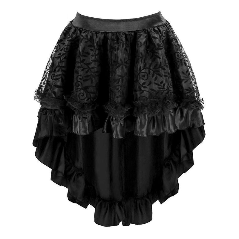 Women's Asymmetrical Mesh Lace Skirts - Available In Plus Size - The Black Ravens