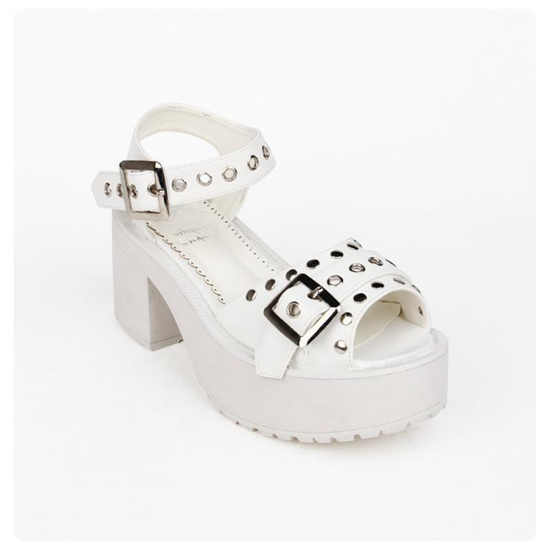 Women's Black/White Rivet Platforms - The Black Ravens