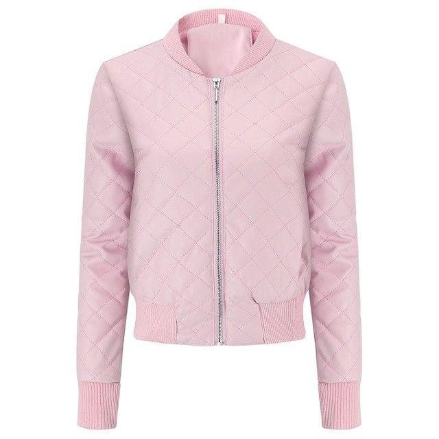 Women's Casual Winter Coat-Pink-S-