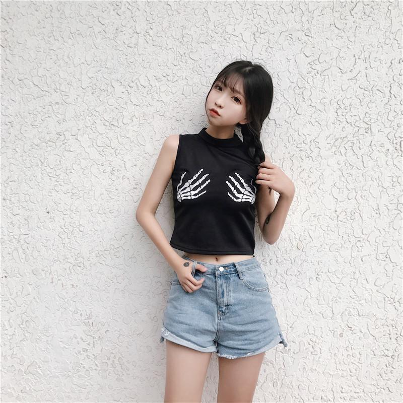 Women's Cheeky Skeleton Hands Crop Tops - The Black Ravens