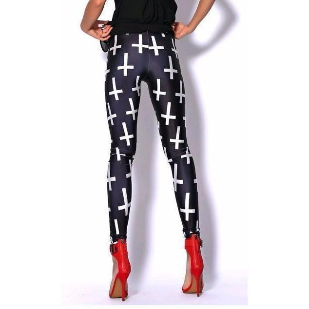 Women's Cute Punk Rock Cross Leggings - The Black Ravens