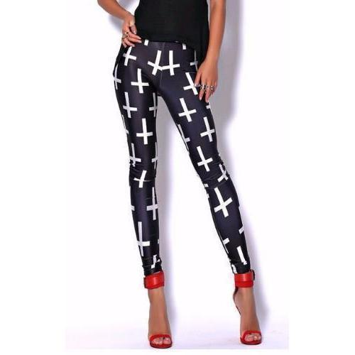 Women's Cute Punk Rock Cross Bottoms-L-
