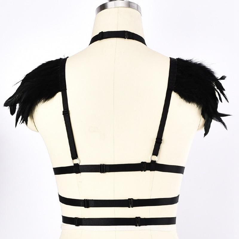 Women's Feather Bandage Chest Cage-