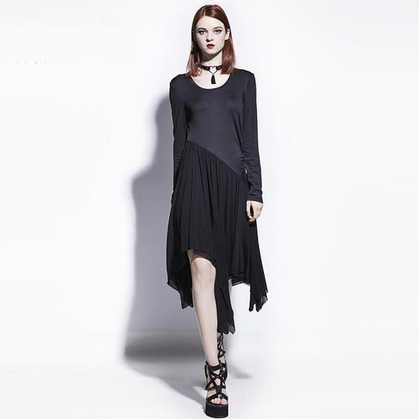 Women's Gothic Fashion Asymmetrical Gown - The Black Ravens