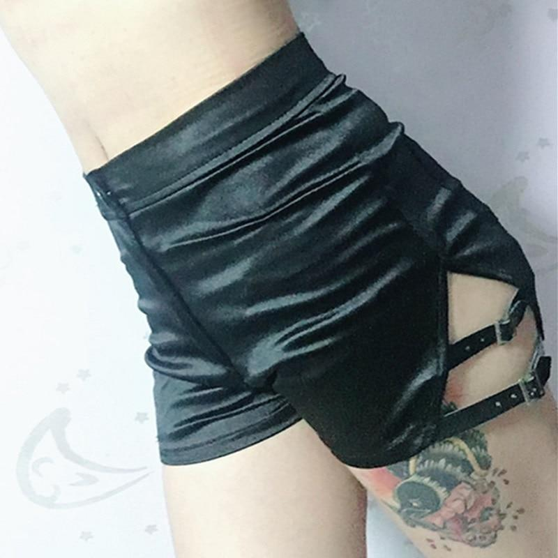 Women's Hollow Out Bandage Sexy Shorts-Black-S-