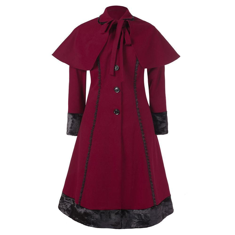 Women's Plus Size Vintage Overcoat-Burgundy-L-
