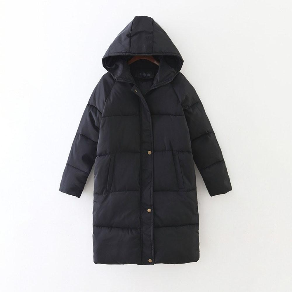 Women's Preppy Hooded Parka-Black-S-