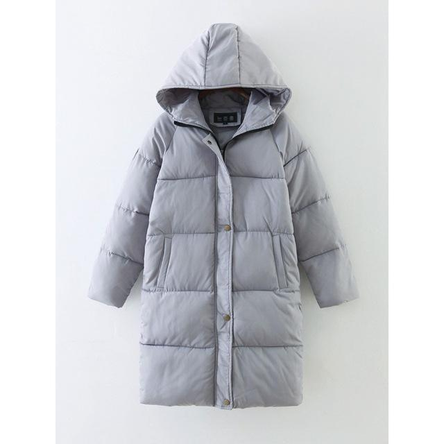 Women's Preppy Hooded Parka-Gray-S-