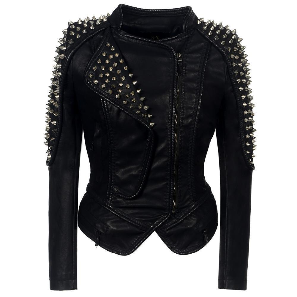 Women's Punk Biker Leather Jacket-S-