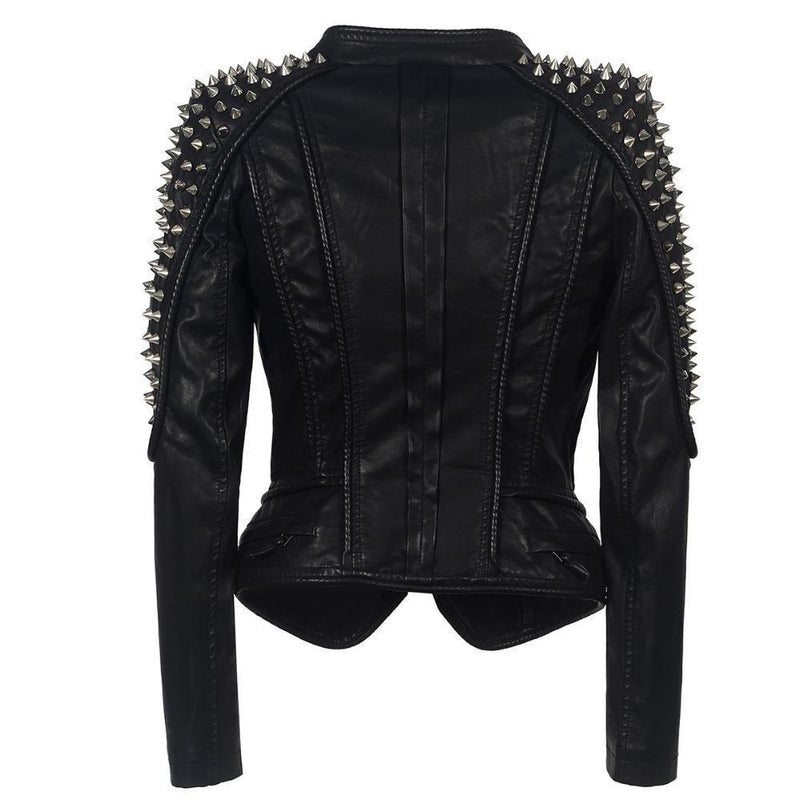 Women's Punk Biker Leather Jacket - The Black Ravens